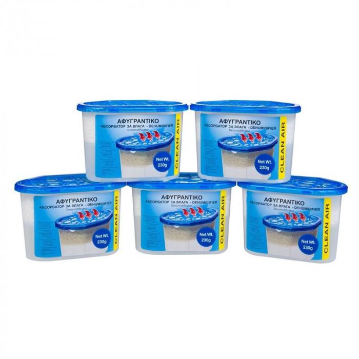Set 5 absorbante umiditate Clean Air, suprafata 35 mp, 230 gr