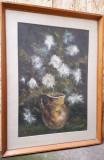 Vaza cu flori albe, P. Popescu, pictura in ulei