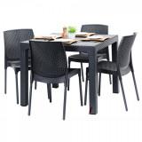 Set exterior gradina PISAGUA masa patrata CLASSI RATAN 90x90x75cm 4 scaune SUNNY RATTAN polipropilen/fibra sticla culoare cafea B004233-42300-42311 Ra