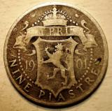 F.457 CIPRU CYPRUS COLONIE BRITANICA VICTORIA 9 PIASTRES 1901 ARGINT 5,5g, Europa