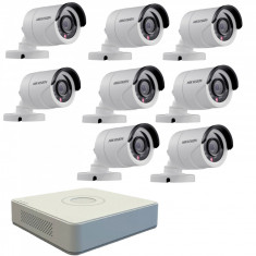 Kit format din 8 camere exterior Hikvision TurboHD DS 2CE16C0T IRPF 1 MP IR 20 m 2.8 mm + DVR Turbo HD Hikvision 3.0 DS 7108HGHI F1 8 canale 1080 N
