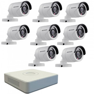 Kit format din 8 camere exterior Hikvision TurboHD DS-2CE16C0T-IRPF, 1 MP, IR 20 m, 2.8 mm + DVR Turbo HD Hikvision 3.0 DS-7108HGHI-F1, 8 canale, 1080