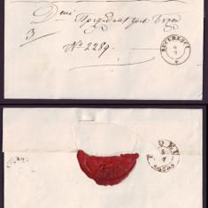 1863 Romania, Scrisoare veche BUCURESCI - BUZAU 9 stampila agrafa BUDEU, sigiliu