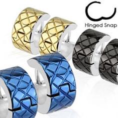 Cercei din oţel inoxidabil - verigi colorate cu margini argintii - Culoare: Negru