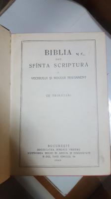 Biblia sau Sfânta Scriptură a Vechiului și Noului Testament, Cu trimiteri, 1940 foto