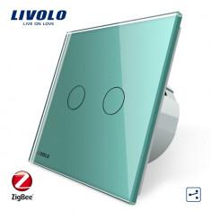 Intrerupator dublu cap-scara cap-cruce cu touch Livolo din sticla – protocol ZigBee, Verde
