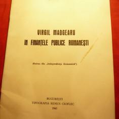I.N.Stan - Virgil Madgearu in Finantele Publice Romanesti 1945 Tip.Remus Cioflec