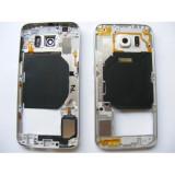Carcasa Mijloc cu geam camera / blitz , Samsung G920 Galaxy S6 Alb Orig Swap.A