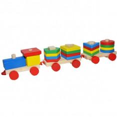 Trenulet din lemn, cu forme geometrice, 38 cm