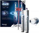 Set 2 periute de dinti electrice Oral-B Genius Pro 8900, Smartring, Bluetooth, 5 Programe, 3 Capete, Trusa de calatorie, Suport pentru smartphone (Arg