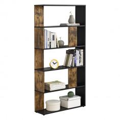 [en.casa] Raft carti Aneby FH,159 x 80 x 23,5 cm, PAL, negru/efect lemn inchis, montabil pe perete, cu 5 polite HausGarden Leisure