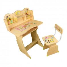 Set 2, Birou Spongebob si scaun pentru copii, Metal+Pal, Maro
