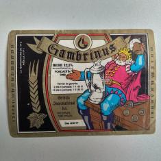 eticheta veche reclama bere Gambrinus de colectie