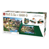 Puzzle 1000 piese+covoras Franta, Burgundy, King