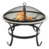 Vatră de foc 2-în-1 grătar/vătrai, 56x56x49 cm, oțel inoxidabil, vidaXL