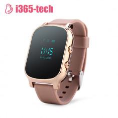 Ceas Smartwatch Pentru Copii i365-Tech T58 cu Functie Telefon, Localizare GPS, Istoric traseu, Apel de Monitorizare, Auriu