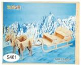 Joc puzzle lemn -S- sanie cu reni A011-2
