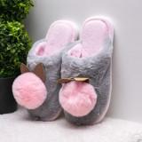 Papuci de casa dama gri cu roz Bunnie-rl
