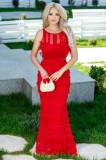 Rochie Doris rosie lunga din dantela cu volane