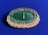Insignă - Semn de armă - Academia de Poliție - Alexandru Ioan Cuza I (verde)