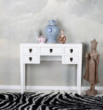 Consola exotica din lemn masiv alb MAY013