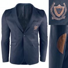 Sacou pentru barbati, bleumarin, casual, slim fit, inchidere un nasture - royal blue
