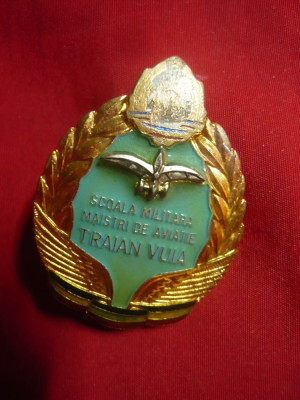 Insigna Militara - Scoala Militara de Maistri de Aviatie Traian Vuia ,h=4cm foto