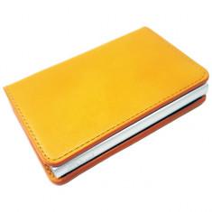 Portofel unisex, port card iUni P1, RFID, Compartiment 6 carduri, Portocaliu, Galben