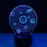 Lampa de Veghe cu Telecomanda si Baterii/USB 3D Model Sistem Solar Multicolor