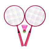 Set Badminton, 1 x fluturas, 46 cm, maner anti-aluncare, Roz, General