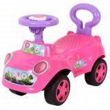 Cumpara ieftin Premergator pentru fetite in forma de masinuta, cu sunete, cu spatar de siguranta, pentru varsta de12 - 36 luni, culoare roz, Oem
