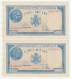 Romania, 5000 lei 1944 oct, 2 consecutive_XF+++_aUNC_serie J/2--0529503, 504