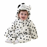 Pijama intreaga Kigurumi Onesie, model ursulet, lungime 100cm, culoare alb-negru