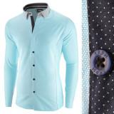 Camasa pentru barbati, bleu, slim fit, casual - A La Fontaine, L, M, XL, XXL, Maneca lunga