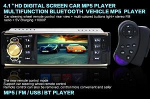Mp5 player de masina cu LCD, Bluetooth, controller, player video, 4x45W, 1DIN