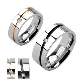 Verighete argintii din oțel, cu dungă aurie sau neagră și zirconiu - Marime inel: 67