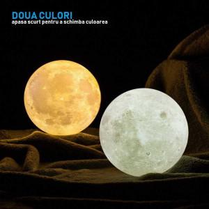 Lampa de veghe Luna Moon Lamp, reincarcabila, 3D