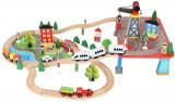 Circuit Trenulet din Lemn Natural, 88 de Accesorii Incluse WoodTrain, cu Traseu Multifunctional, Kruzzel