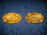 3979-Scrumiere pereche vechi in bronz masiv, perioada 1900- 1930.