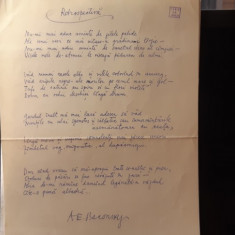 Autograf ms. Baconsky poezia RETROSPECTIVA