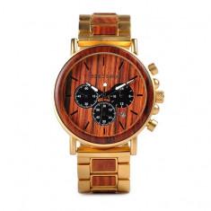 Ceas din lemn Bobo Bird cu curea din lemn, Q26-2 Wooden Lux