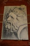 Desen in carbune MAGHERUSAN ,anii 1970,  chip de bazileu,carbune creion