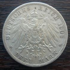 (A751) MONEDA DIN ARGINT GERMANIA, PRUSIA - 3 MARK 1908, LIT. A, WILHELM II