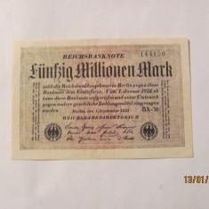 CY - 50000000 50 milioane marci mark 01.09.1923 Reichsbanknote Germania unifata