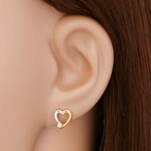 Cercei cu diamante, din aur de 14K - contur inimă cu diamant transparent