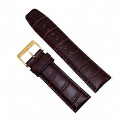 Curea de ceas din piele ecologica maro, imprimeu crocodil - 24mm - C2950