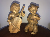 Pereche de copii muzicanti,sculpturi bavareze in lemn