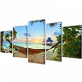 Set tablouri de perete cu imprimeu plajă cu nisip și hamac, 200x100cm, vidaXL