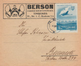 1945 Romania - Plic filatelic cu marca de posta aeriana OSP, timbru suprataxa