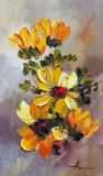 Tablou ulei (15/25cm )-FLOAREA SOARELUI, Flori, Impresionism